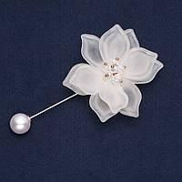 Брошь булавка Белый Цветок L-8,5см d-55мм