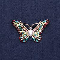 Брошь Бабочка разноцветная с бусиной 4,5х3 см желтый металл