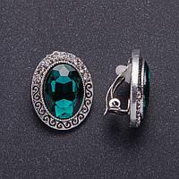 """Клипсы с зелеными кристаллами оправа """"S"""" со стразами d-26х20мм"""