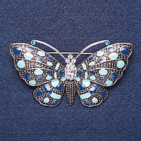 "Брошь ""Бабочка"" голубая эмаль цвет металла серебро 6,5х3,5см"