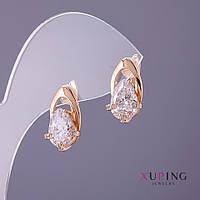 Серьги Xuping белые камни d-9мм L16-мм цвет золото