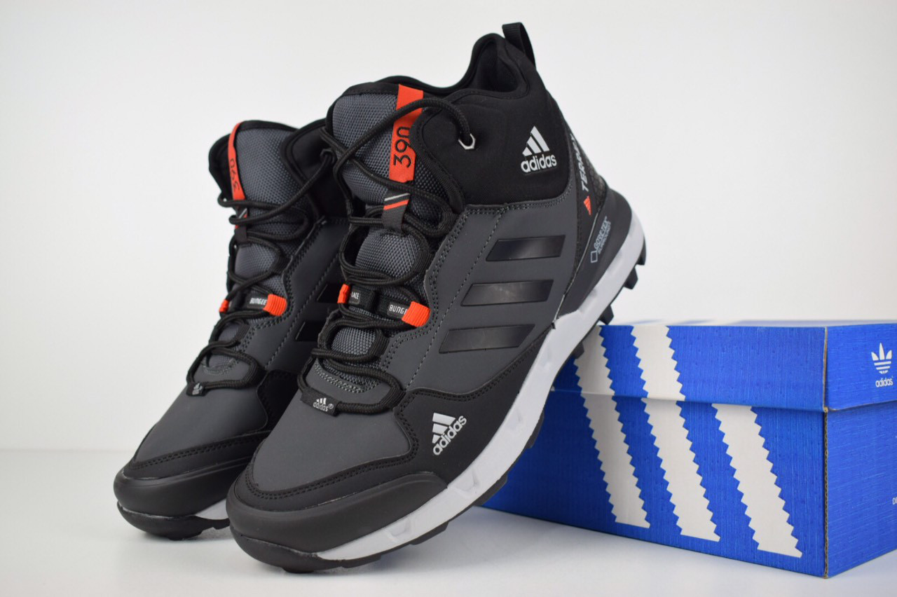 570159a2 Мужские зимние кроссовки+ботинки Adidas Terrex серые с мехом реплика (живые  фото) -