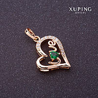 """Подвеска Xuping Love зеленый камень цвет """"золото"""" 27х16мм"""