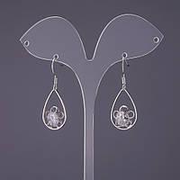 "Серьги ""Итаоляо"" Капли с кристаллами d-14мм L-31мм цвет серебро"