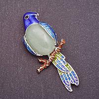 """Брошь """"Попугай"""" с натуральным камнем Нефрит 6,7х3см"""