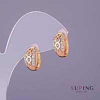 Серьги Xuping белые стразы d-7мм L-14мм цвет золото