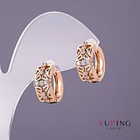 Серьги Xuping белые стразы d-7мм L-16мм цвет золото
