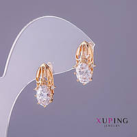 Серьги Xuping белые камни d- 8мм L-17мм цвет золото