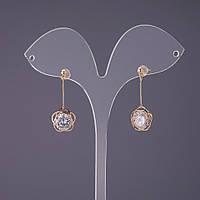 """Серьги """"Итаоляо"""" Цветок с кристаллом d-12мм L-33мм цвет золото"""