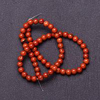 Бусины натуральный камень на нитке Яшма красная d-6мм L-37см