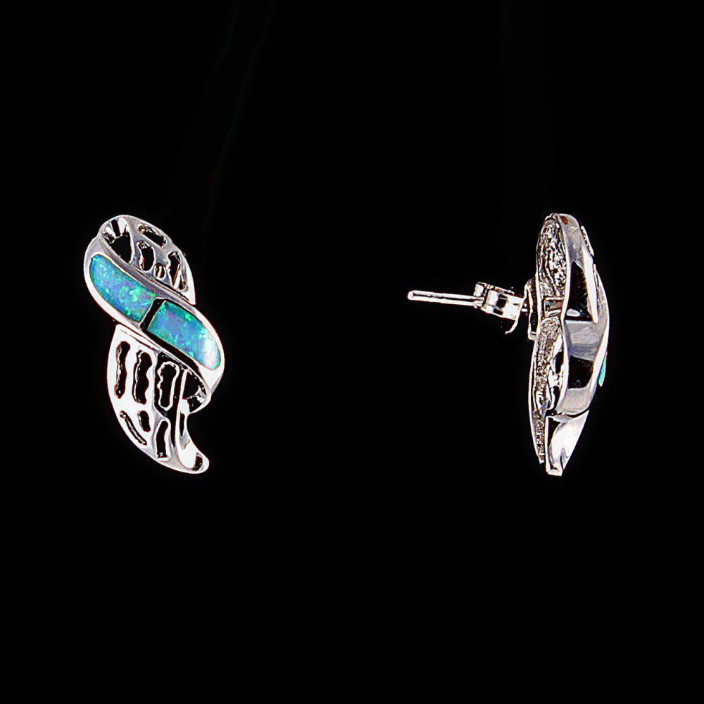 Серьги-пусеты ажурные, вставка -голубой опал(им)цвет- серебро\ 20*10мм