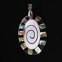 Кулон подвеска Овал в овале Спираль Лучи Перламутр халиотис