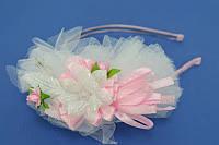 Обруч для волос, фатин, розовый, мелкие цветы