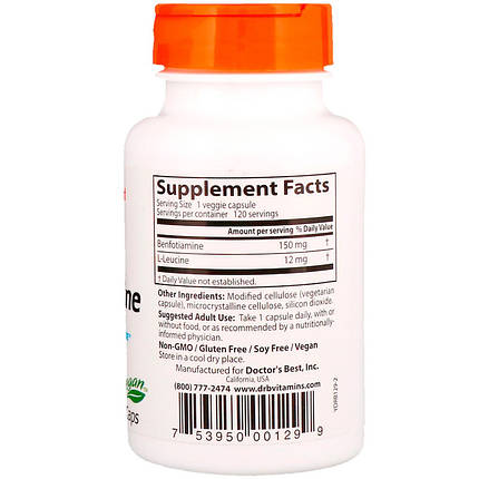Doctor's Best Benfotiamine with BenfoPure 120 Caps, фото 2