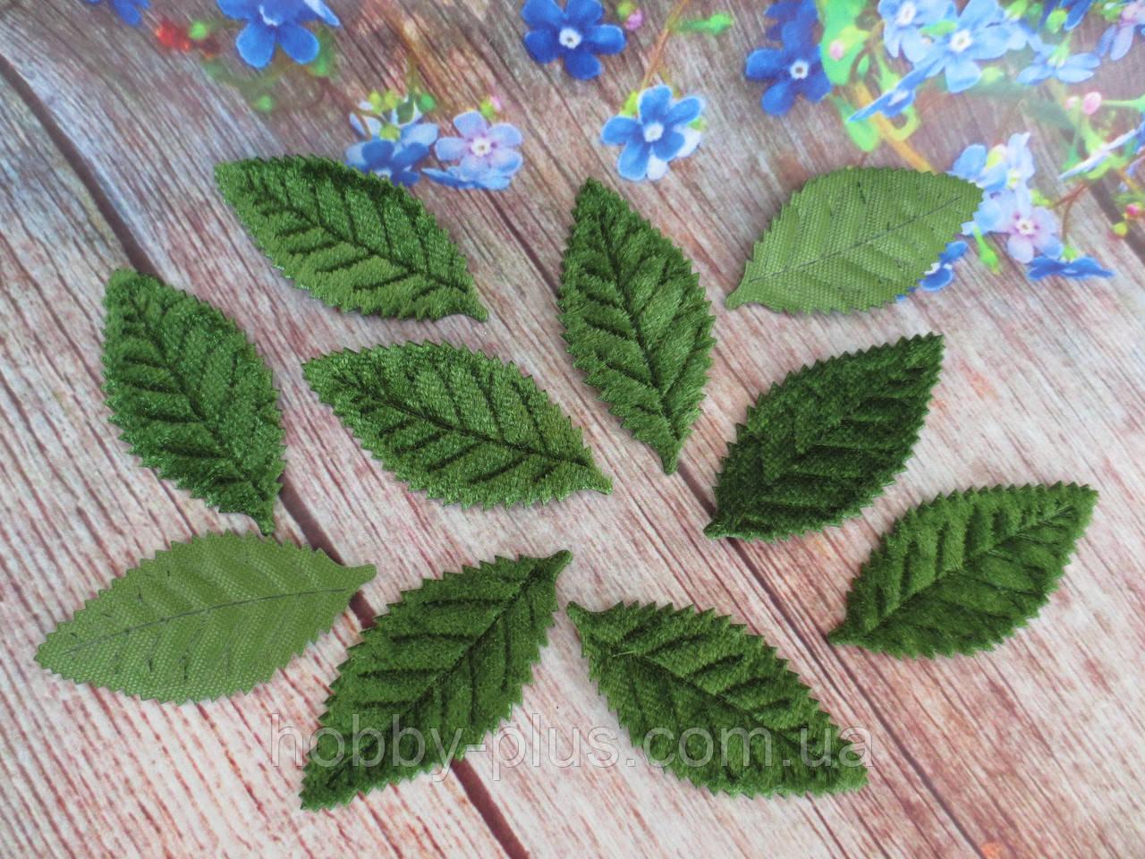 Декоративные листики (бархатные), цвет зеленый, 50х25 мм, 10 шт.