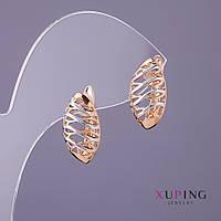 Серьги Xuping d-9мм L-17мм цвет золото серебро