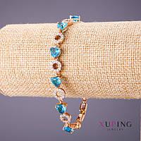 Браслет Xuping голубые камни белые стразы L-18-20см s-8мм цвет золото