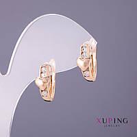 Серьги Xuping Сердце белые стразы d-6мм L-13мм цвет золото