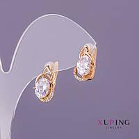 Серьги Xuping белые камни d-8мм L-15мм цвет золото