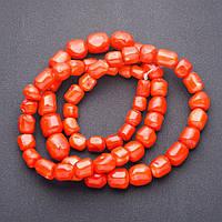Бусины натуральный Коралл оранж крупный на увеличение галтовка округлая для рукоделия d-9-18мм L-90см нитка