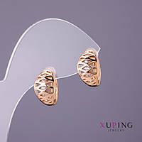 Серьги Xuping белые стразы d-8 мм L-13мм цвет золото