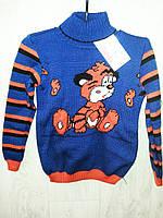 Детский теплый свитер на мальчика вязаный под горло