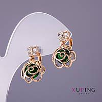 Серьги Xuping Розы зеленый камень d- 12мм L-20мм цвет золото