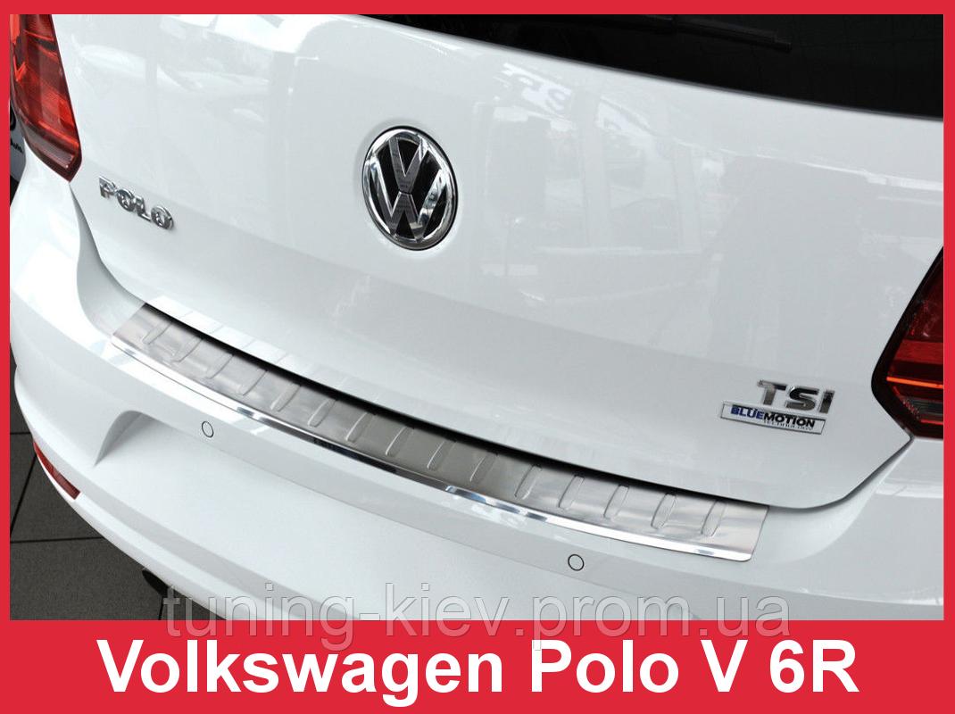 Накладка на бампер с загибом Volkswagen Polo V 6R послерест.