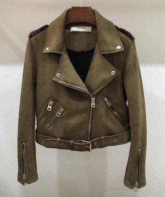 Женская замшевая куртка косуха хаки (зеленая)