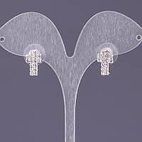 """Серьги стразовые белые Крестики двухрядные L-1,3см b-8мм цвет металла """"серебро"""""""