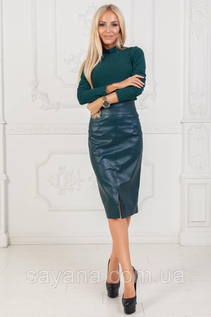 Женский костюм: кофта и юбка из эко кожи в расцветках. ПН-3-0918