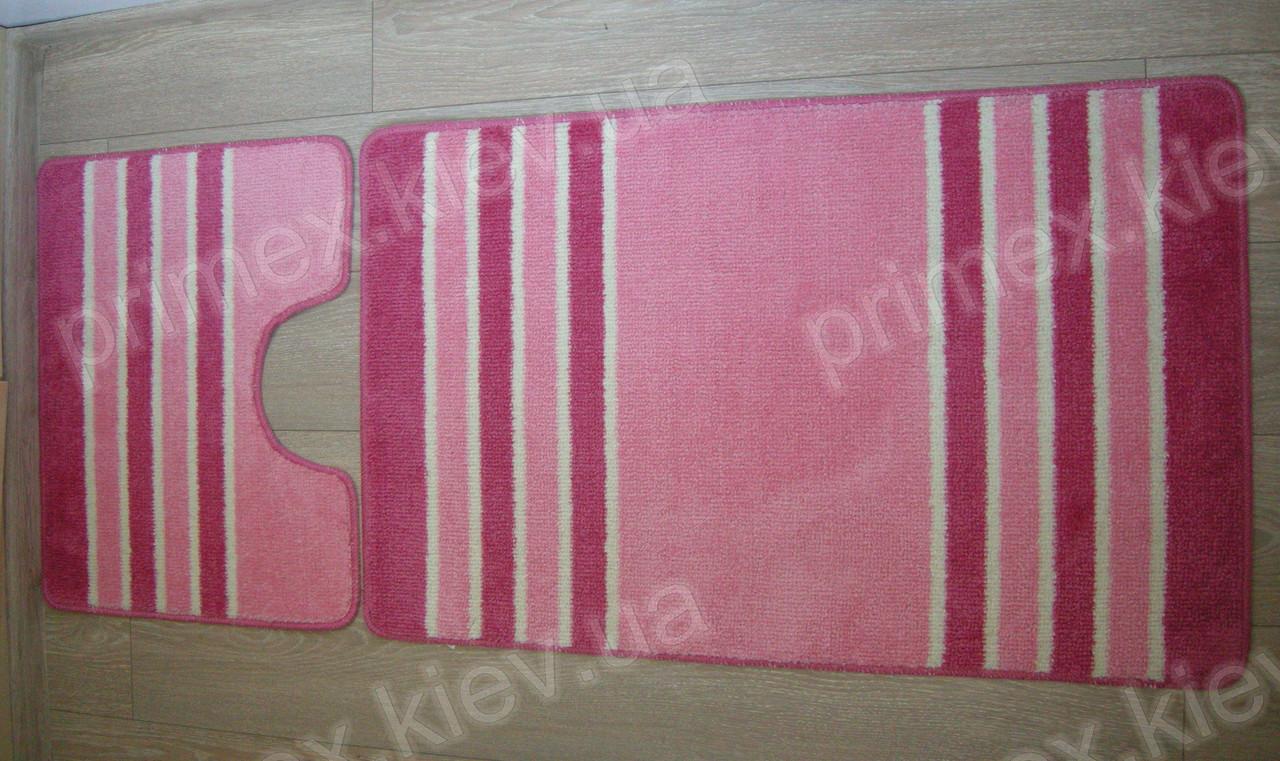 """Коврики для ванной комнаты """"Полосы""""  цвет - розовый. Коврик в ванную купить"""