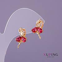 Серьги Xuping Балерина красные камни d-11мм L-19мм цвет золото