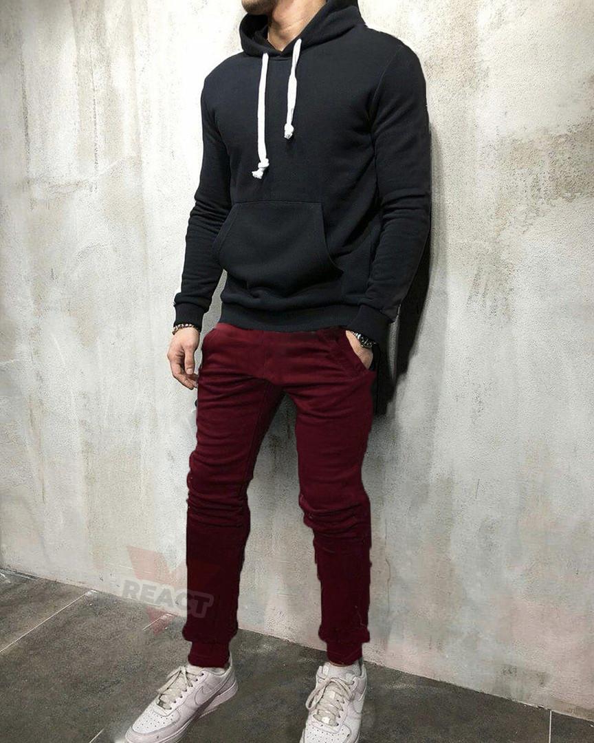 Костюм спортивный черно-бордовый с капюшоном