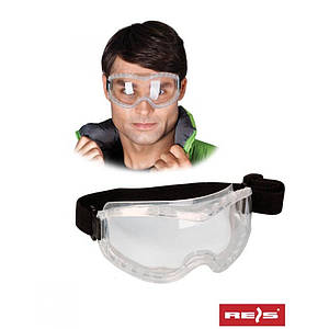 Закрытые защитные очки из прозрачного поликарбоната GOG-FLEXIFOG