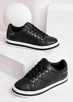 Кеды женские черные на шнуровке 27860, фото 1