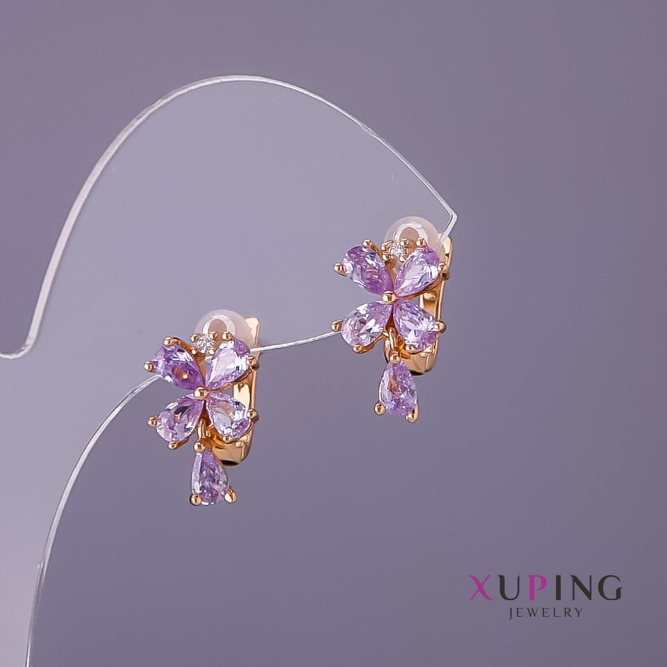Серьги Xuping сиреневые камни d-15мм L-10мм цвет золото