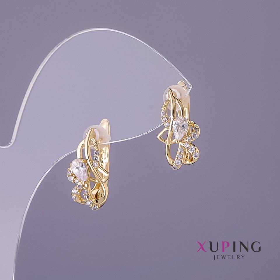 Серьги Xuping белые камни d-9мм L-16мм цвет лимонное золото