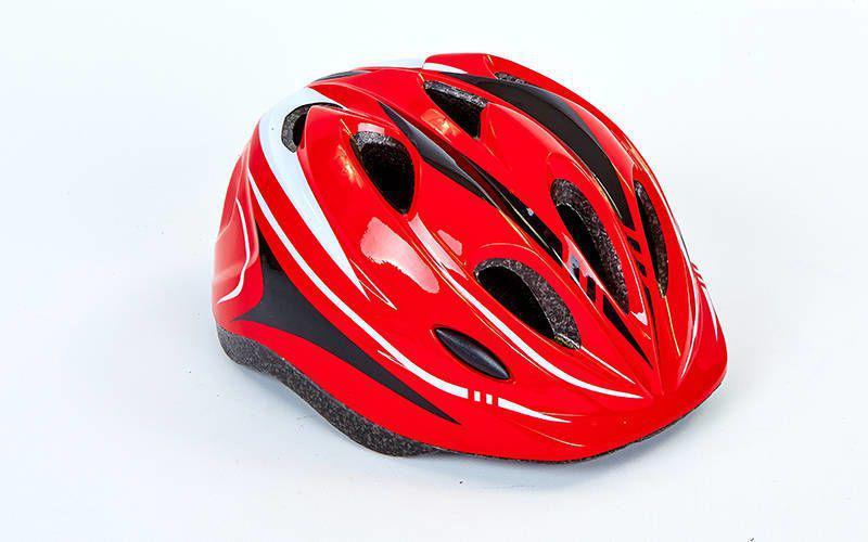 Шлем защитный подростковый - Красный р.L 54-56см