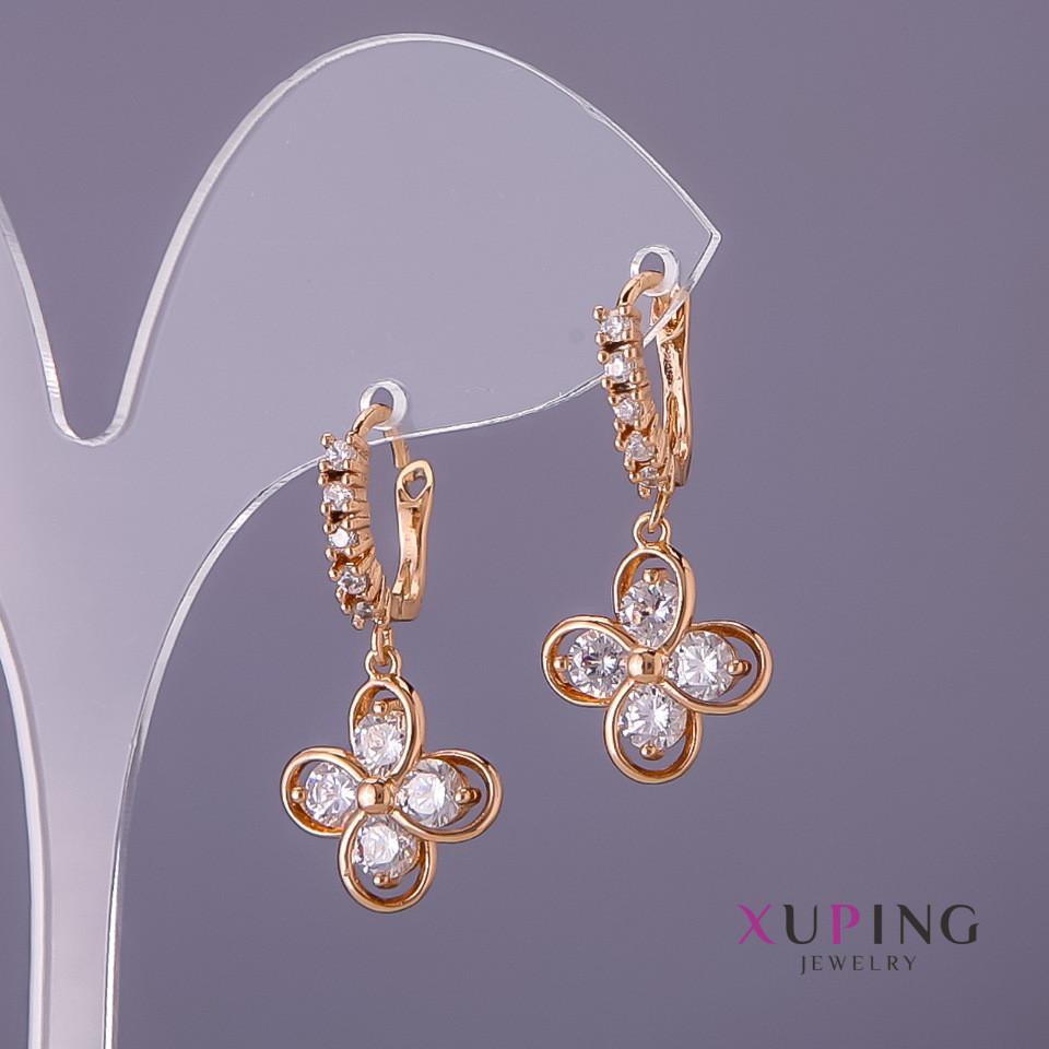 Серьги Xuping белые камни цветы d-2мм 14мм L-14мм цвет золото