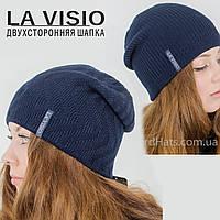 Женская двухсторонняя шапка, Ла Визио (Т. синий)