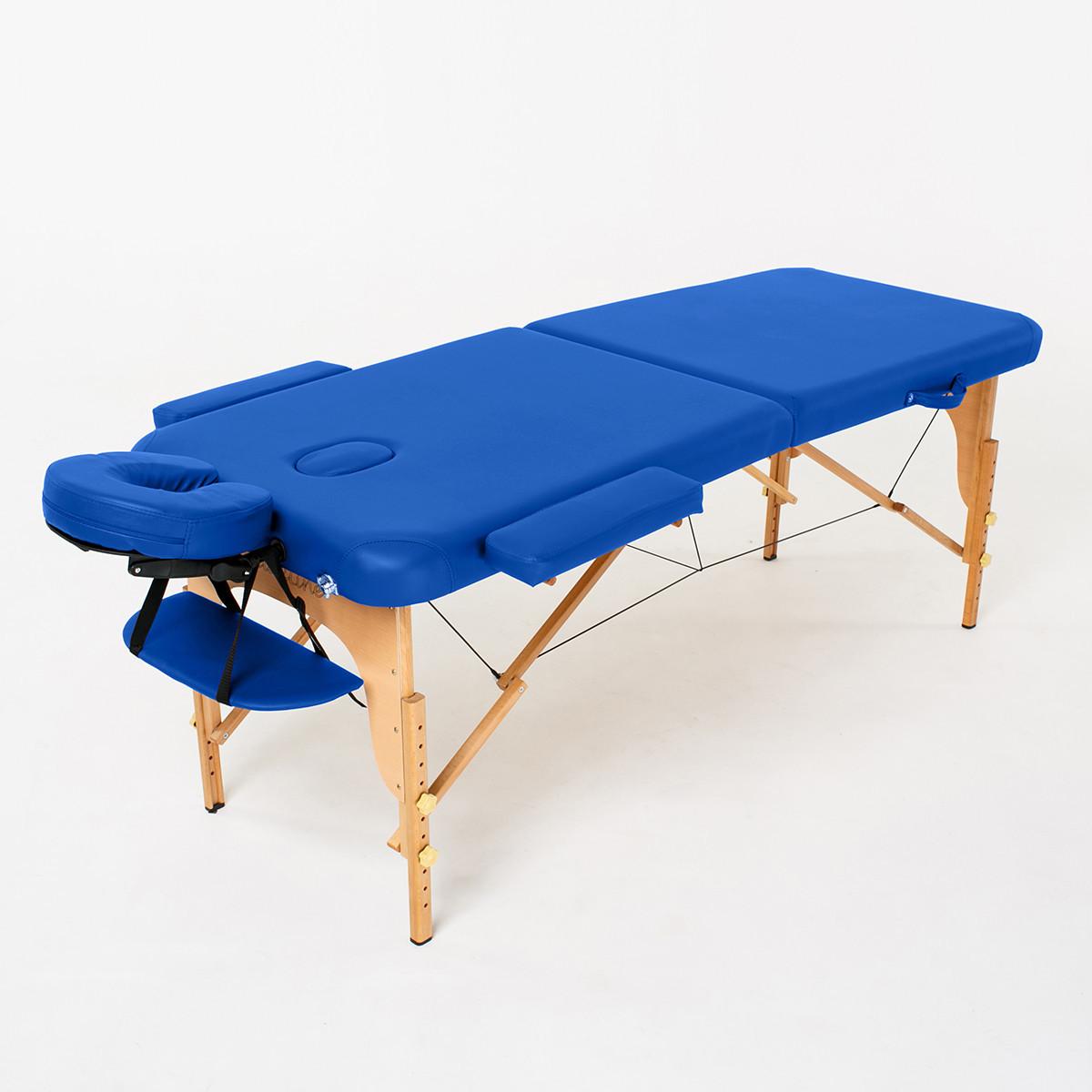 Массажный стол деревянный 2-х сегментный RelaxLine Bali (синий)