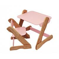 Детский комплект: растущий столик и растущий стульчик из бука., фото 1