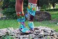 Полусапожки с открытым носком штапель+макраме. Подошва: черная и белая. Размеры: 36-42 код 4405О