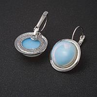 Сережки Місячний камінь гладка оправа круглий камінь 2см L-3,1 см