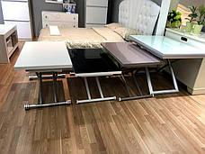 Стол -трансформер Рим-9 (B2219-SP-9 ), цвет стекла черный, окантовка белая, ноги серебро, фото 3