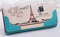 Красивый кошелек с принтом Парижа Модный повседневный аксессуар Товар в розницу Новая коллекция Код: КГ5928, фото 1