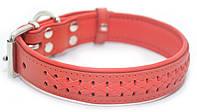 Ошейник для собак кожаный VIP1-3,0/40-50 красный
