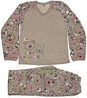 Пижама теплая для девочки, серая, со зверятами, рост 128/134см, Фламинго