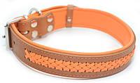 Ошейник для собак кожаный VIP1-3,5/44-55 рыжий + оранжевый